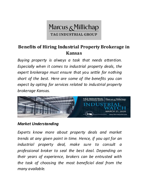 Benefits of Hiring Industrial Property Brokerage in Kansas