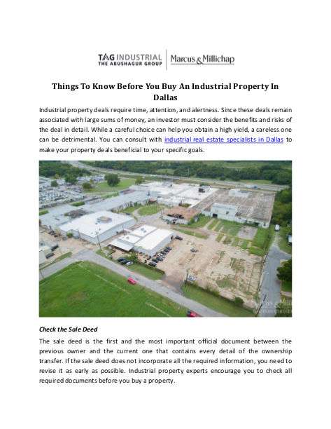 Things To Know Before You Buy An Industrial Property In Dallas